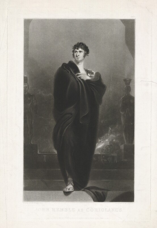 John Philip Kemble as Coriolanus, by William Oakley Burgess, published by  Marseille Middleton Holloway, after  Sir Thomas Lawrence, published 11 March 1839 - NPG D17077 - © National Portrait Gallery, London