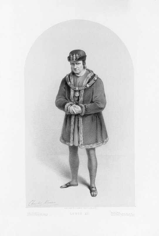 Charles John Kean as Louis XI, by Richard James Lane, published by  John Mitchell, after  C.S.L., mid 19th century - NPG D17076 - © National Portrait Gallery, London