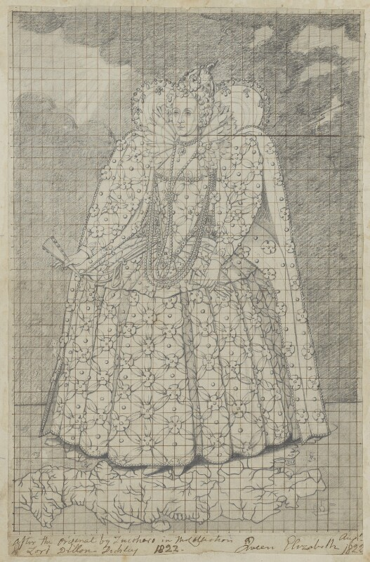 Queen Elizabeth I, by Henry Bone, after  Marcus Gheeraerts the Younger, 1822 (circa 1592) - NPG D17098 - © National Portrait Gallery, London