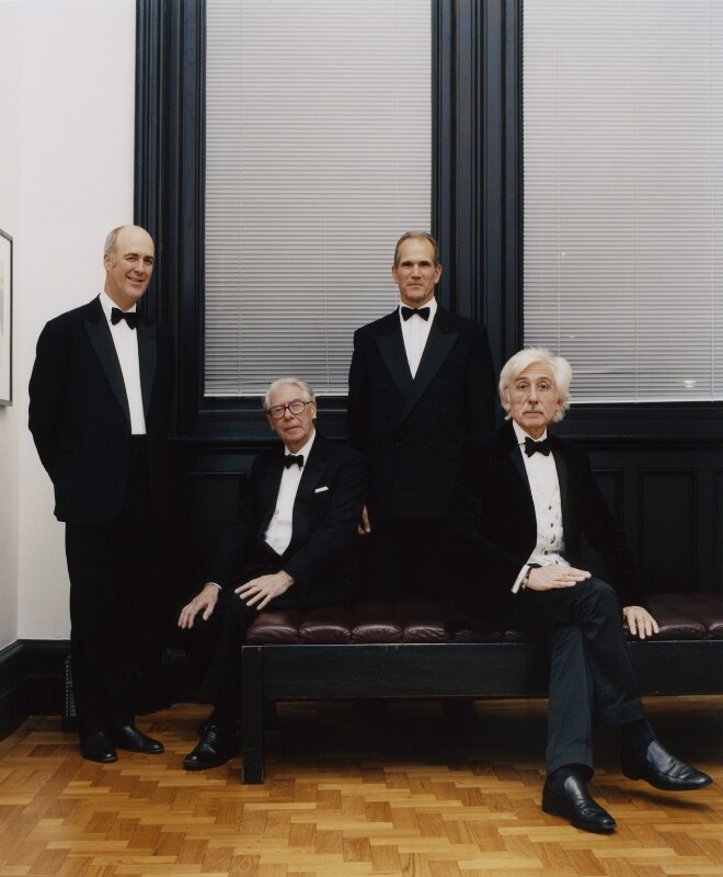 Sir Charles Robert Saumarez Smith; John Trevor Hayes; Sandy Robert Nairne; Sir Roy Strong, by David Weightman, 17 November 2004 - NPG x126874 - © David Weightman