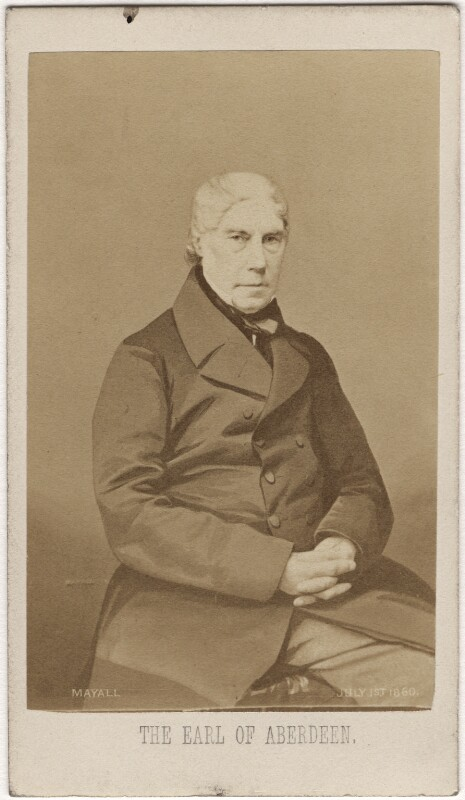 George Hamilton Gordon, 4th Earl of Aberdeen, by John Jabez Edwin Mayall, 1 July 1860 - NPG Ax5050 - © National Portrait Gallery, London