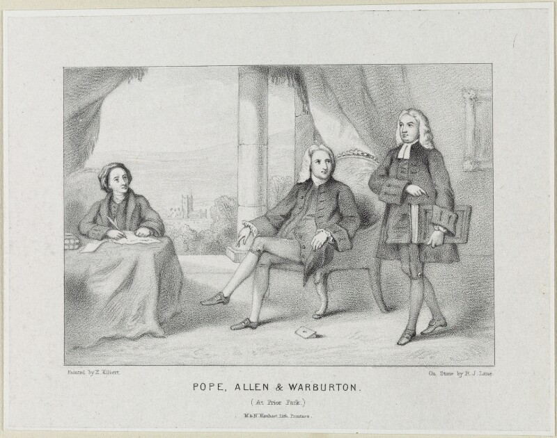 'Pope, Allen and Warburton at Prior Park', by Richard James Lane, published by  M & N Hanhart, after  E. Kilvert, published circa 1839-1865 - NPG D21904 - © National Portrait Gallery, London