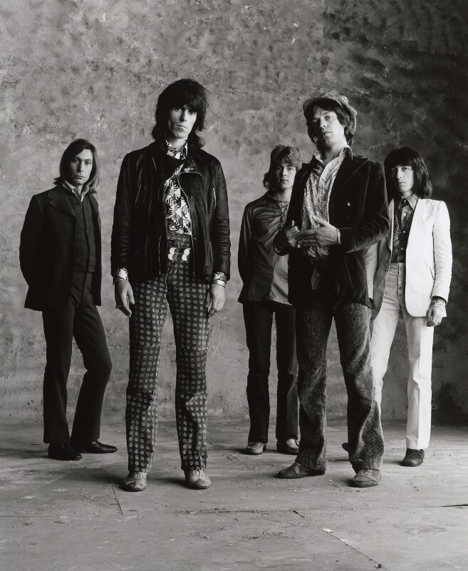 The Rolling Stones (Charlie Watts; Keith Richards; Mick Taylor; Mick Jagger; Bill Wyman), by Peter Webb, May 1971 - NPG x87571 - © Peter Webb