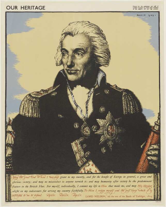 Horatio Nelson, by Robert Sargent Austin, printed by  The Baynard Press, after  Lemuel Francis Abbott, published 1943 - NPG D17806 - © reserved; collection National Portrait Gallery, London