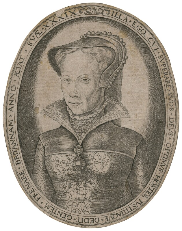 Queen Mary I, by Franz Huys, after  Unknown artist, circa 1555 - NPG D17822 - © National Portrait Gallery, London