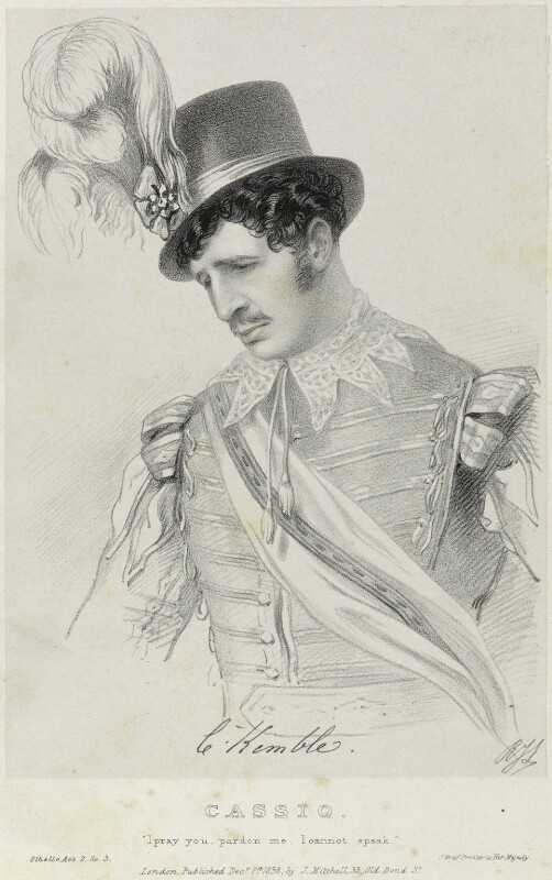 Charles Kemble as Cassio in 'Othello', by Richard James Lane, printed by  Jérémie Graf, published by  John Mitchell, after  Alfred Edward Chalon, published 1 December 1838 - NPG D22072 - © National Portrait Gallery, London