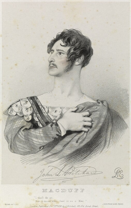 John Langford Pritchard as Macduff in 'Macbeth', by Richard James Lane, printed by  Jérémie Graf, published by  John Mitchell, after  Alfred Edward Chalon, published 17 December 1838 - NPG D22101 - © National Portrait Gallery, London