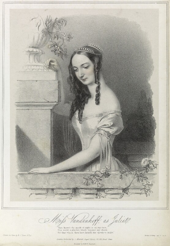 Charlotte Elizabeth Vandenhoff as Juliet in 'Romeo and Juliet', by Richard James Lane, printed by  M & N Hanhart, published by  John Mitchell, published circa 1838-1839 - NPG D22105 - © National Portrait Gallery, London