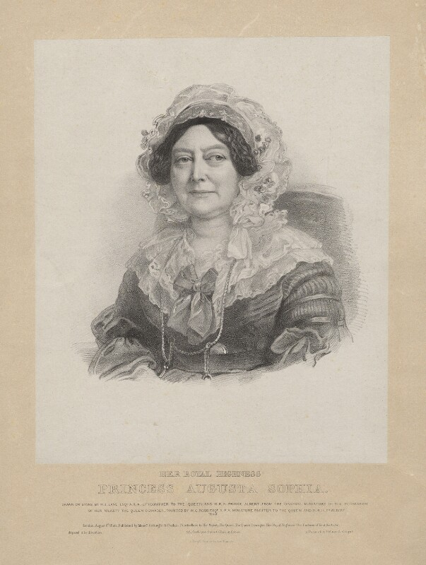 Princess Augusta Sophia, by Richard James Lane, printed by  Jérémie Graf, published by  Colnaghi and Puckle, after  Sir William Charles Ross, published 1 August 1840 - NPG D22111 - © National Portrait Gallery, London