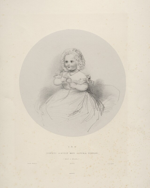 Princess Beatrice of Battenberg, by Richard James Lane, printed by  M & N Hanhart, after  Ann Mary Newton, 1858 - NPG D22112 - © National Portrait Gallery, London