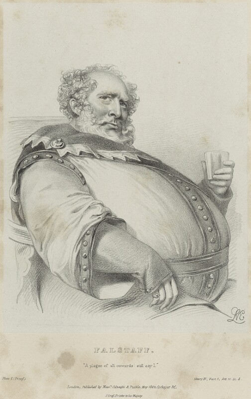 Charles Kemble as Falstaff in 'Henry IV', by Richard James Lane, printed by  Jérémie Graf, published by  Colnaghi and Puckle, published May 1840 - NPG D22325 - © National Portrait Gallery, London