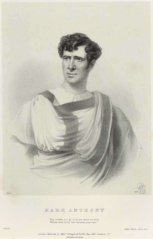 Charles Kemble as Mark Anthony in 'Julius Caesar', by Richard James Lane, printed by  M & N Hanhart, published by  Colnaghi and Puckle, after  Alfred Edward Chalon, published May 1840 - NPG D22328 - © National Portrait Gallery, London