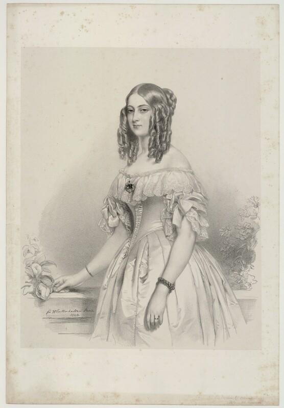 Princess Victoria of Saxe-Coburg and Gotha, Duchess de Nemours, by Richard James Lane, after  Franz Xaver Winterhalter, 1841 (1840) - NPG D22148 - © National Portrait Gallery, London