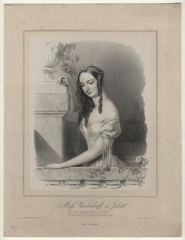 Charlotte Elizabeth Vandenhoff as Juliet in 'Romeo and Juliet', by Richard James Lane, printed by  M & N Hanhart, published circa 1838-1839 - NPG D22159 - © National Portrait Gallery, London