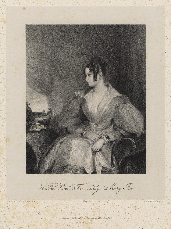 Lady Mary Fox (née FitzClarence), by Richard James Lane, printed by  Graf & Soret, published by  Joseph Dickinson, after  Gilbert Stuart Newton, published March 1836 - NPG D22216 - © National Portrait Gallery, London
