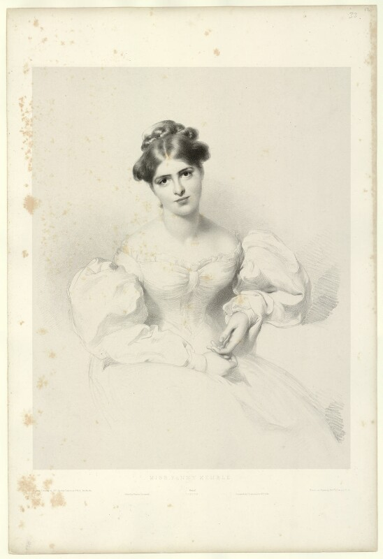 Fanny Kemble, by Richard James Lane, printed by  Charles Joseph Hullmandel, published by  Joseph Dickinson, after  Sir Thomas Lawrence, published 20 December 1829 - NPG D22242 - © National Portrait Gallery, London