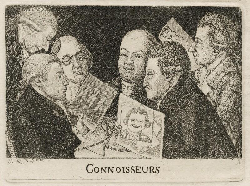 Connoisseurs (William Scott; James Sibbald; George Fairholme; James Kerr; and two imaginary men), by John Kay, 1785 - NPG D20513 - © National Portrait Gallery, London