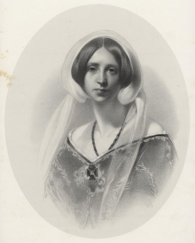 Sara Coleridge, by Richard James Lane, printed by  M & N Hanhart, after  Samuel Laurence, circa 1825-1850 - NPG D22537 - © National Portrait Gallery, London