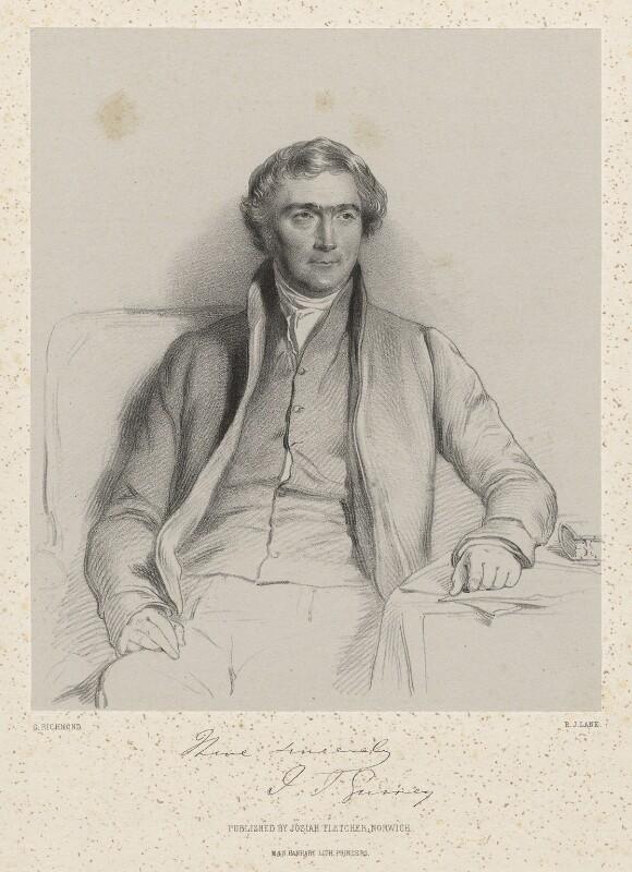 Joseph John Gurney, by Richard James Lane, printed by  M & N Hanhart, published by  Josiah Fletcher, after  George Richmond, 1847 - NPG D22388 - © National Portrait Gallery, London
