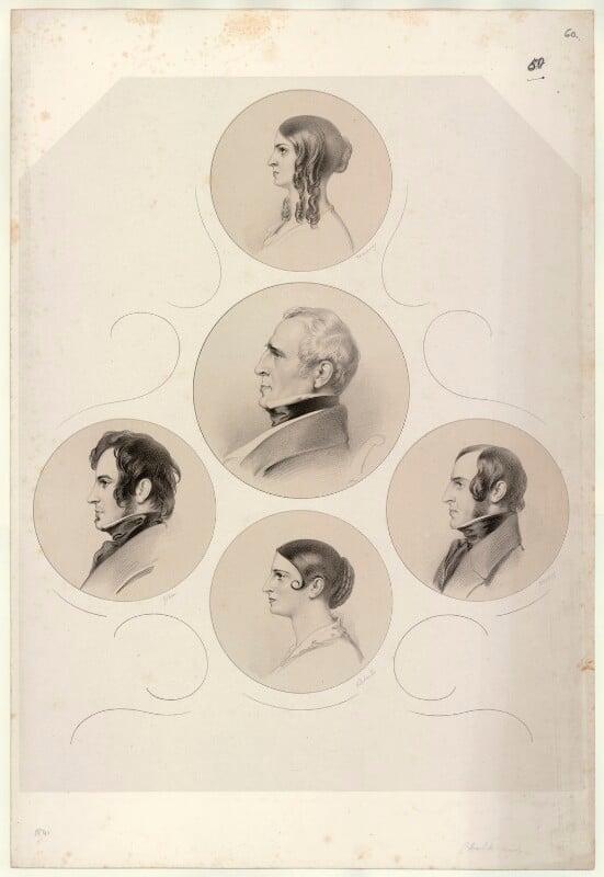 Henry Vincent James Kemble; Fanny Kemble; Charles Kemble; Adelaide Kemble; John Mitchell Kemble, by Richard James Lane, 1841 - NPG D22398 - © National Portrait Gallery, London