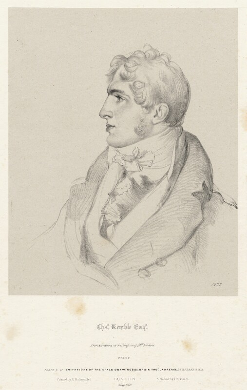 Charles Kemble, by Richard James Lane, printed by  Charles Joseph Hullmandel, published by  Joseph Dickinson, after  Sir Thomas Lawrence, May 1830 (1805) - NPG D22400 - © National Portrait Gallery, London