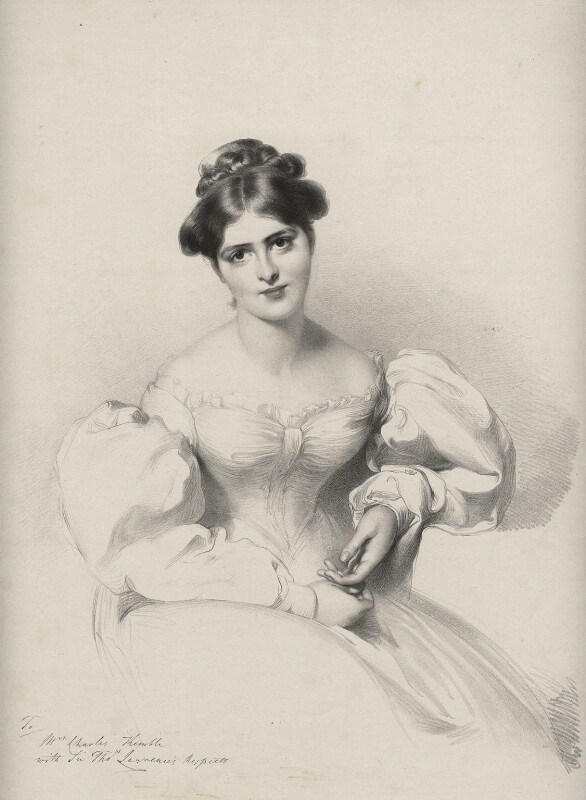 Fanny Kemble, by Richard James Lane, printed by  Charles Joseph Hullmandel, published by  Joseph Dickinson, after  Sir Thomas Lawrence, published 1829-1830 - NPG D22402 - © National Portrait Gallery, London