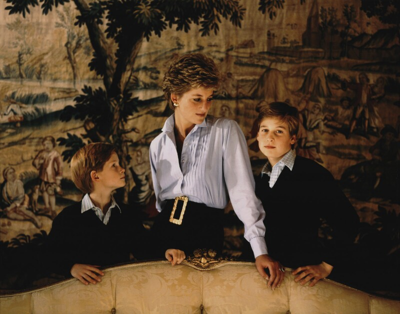 Prince Harry, Duke of Sussex; Diana, Princess of Wales; Prince William, Duke of Cambridge, by Derry Moore, 12th Earl of Drogheda, 1992 - NPG x126973 - © Derry Moore