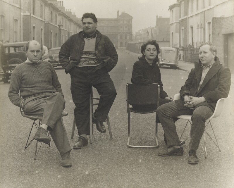 Four artists included in the exhibition 'This is Tomorrow', by Nigel Graeme Henderson, 1956 - NPG P1090 - © The Estate of Nigel Henderson and The Mayor Gallery