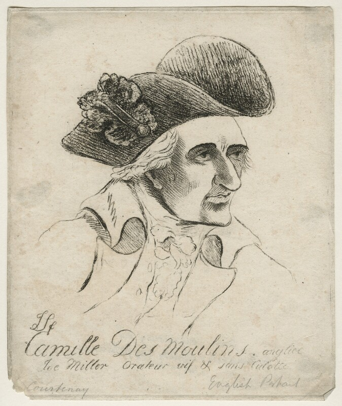 John Courtenay ('Camille des Moulins'), by James Sayers, published by  Hannah Humphrey, published 12 May 1794 - NPG D20552 - © National Portrait Gallery, London