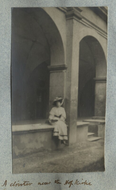 Lady Ottoline Morrell ('A cloister near the Hofkirche'), by Philip Edward Morrell, August 1908 - NPG Ax140009 - © National Portrait Gallery, London