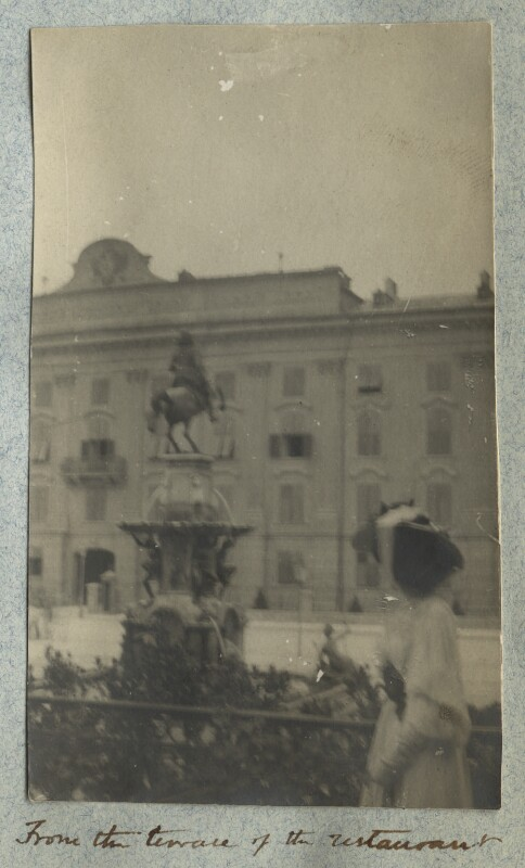 Lady Ottoline Morrell ('From the terrace of the restaurant'), by Philip Edward Morrell, August 1908 - NPG Ax140011 - © National Portrait Gallery, London