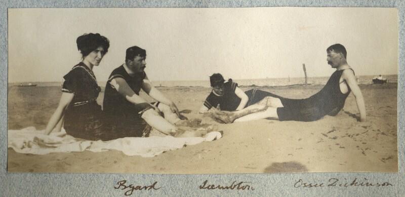 Lady Ottoline Morrell; Theodore Byard; John Frederick Lambton, 5th Earl of Durham; Goldsworthy Lowes Dickinson, by Philip Edward Morrell, August 1908 - NPG Ax140037 - © National Portrait Gallery, London