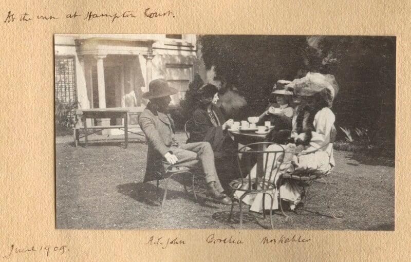 Augustus John; Dorelia McNeill; Mrs Kochlin; Lady Ottoline Morrell, possibly by Philip Edward Morrell, June 1909 - NPG Ax140132 - © National Portrait Gallery, London