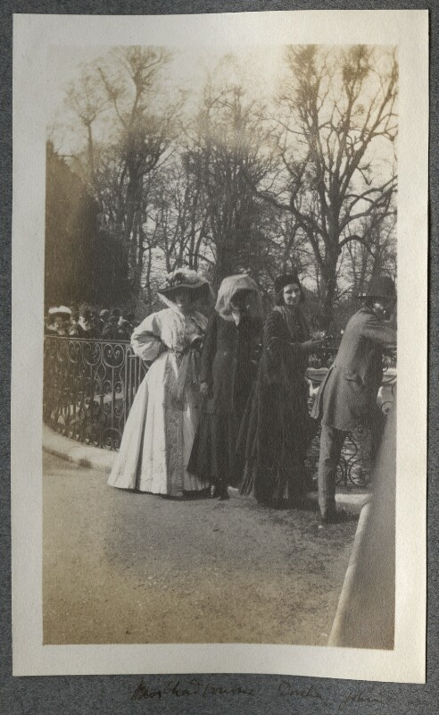 Lady Ottoline Morrell; Emily Chadbourne; Dorelia McNeill; Augustus John, possibly by Philip Edward Morrell, May 1909 - NPG Ax140133 - © National Portrait Gallery, London