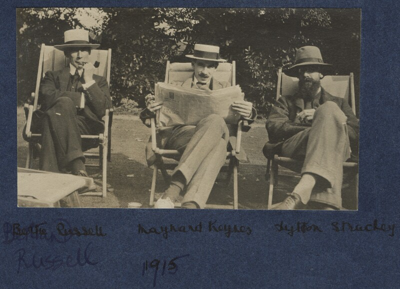 Bertrand Arthur William Russell, 3rd Earl Russell; John Maynard Keynes, Baron Keynes; Lytton Strachey, by Lady Ottoline Morrell, 1915 - NPG Ax140438 - © National Portrait Gallery, London