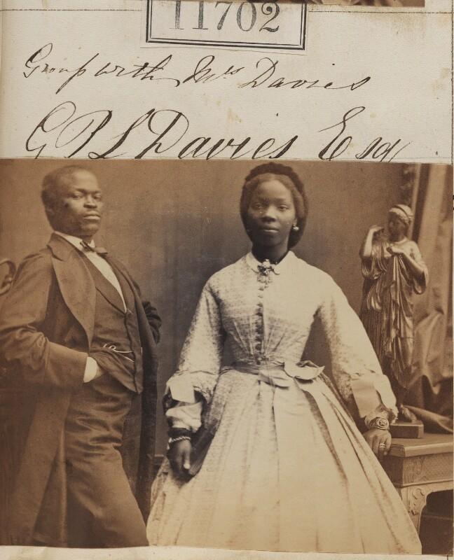 James Pinson Labulo Davies; Sarah Forbes Bonetta (Sarah Davies), by Camille Silvy, 15 September 1862 - NPG Ax61385 - © National Portrait Gallery, London