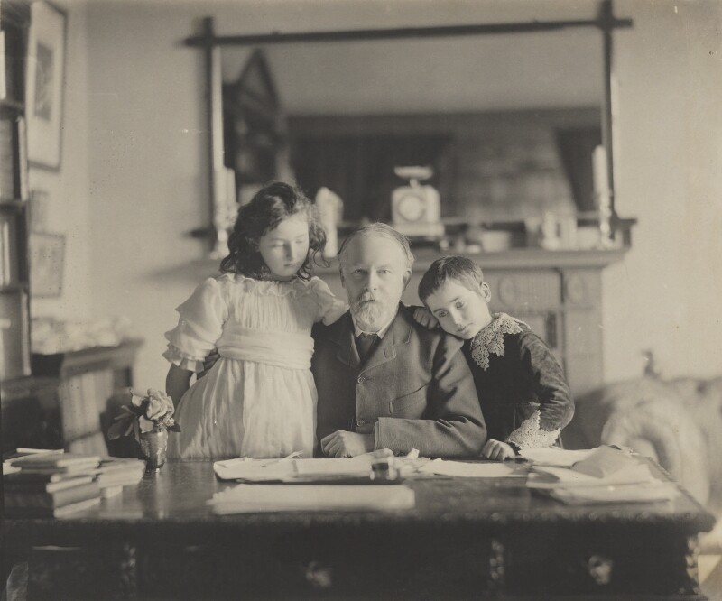 Silvia Constance Myers; Frederic William Henry Myers; Harold Hawthorn Myers, by Eveleen Myers (née Tennant), mid 1890s - NPG Ax68329 - © National Portrait Gallery, London