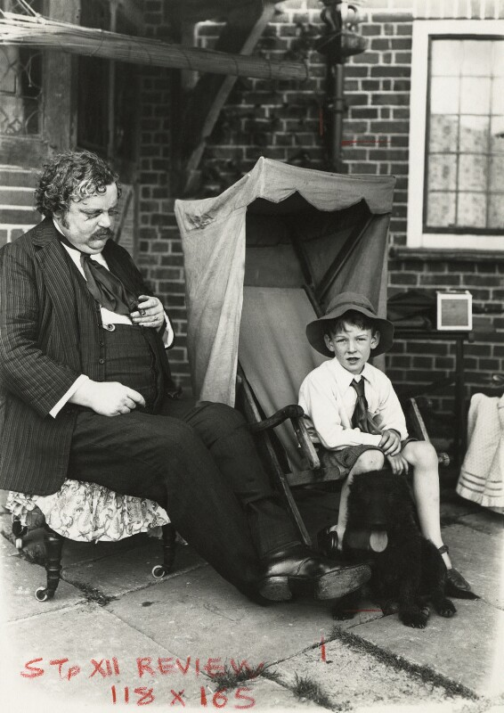 G.K. Chesterton with a boy, by Roberts, 1910s - NPG x127166 - © National Portrait Gallery, London