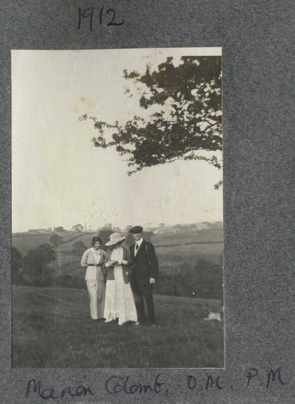 Catherine Colomb (Marie-Louise ('Marion') Reymond (née Colomb)); Lady Ottoline Morrell; Philip Edward Morrell, by Unknown photographer, 1913 - NPG Ax140375 - © National Portrait Gallery, London