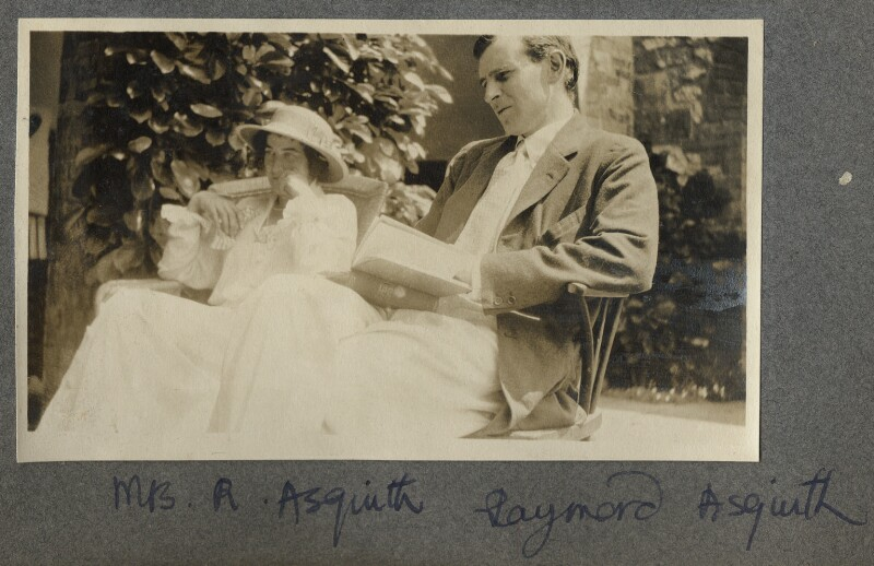 Katharine Frances Asquith (née Horner); Raymond Asquith, by Lady Ottoline Morrell, 1913 - NPG Ax140417 - © National Portrait Gallery, London
