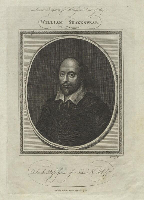 William Shakespeare, by John Goldar, probably after  John Taylor, published 1785 - NPG D20572 - © National Portrait Gallery, London