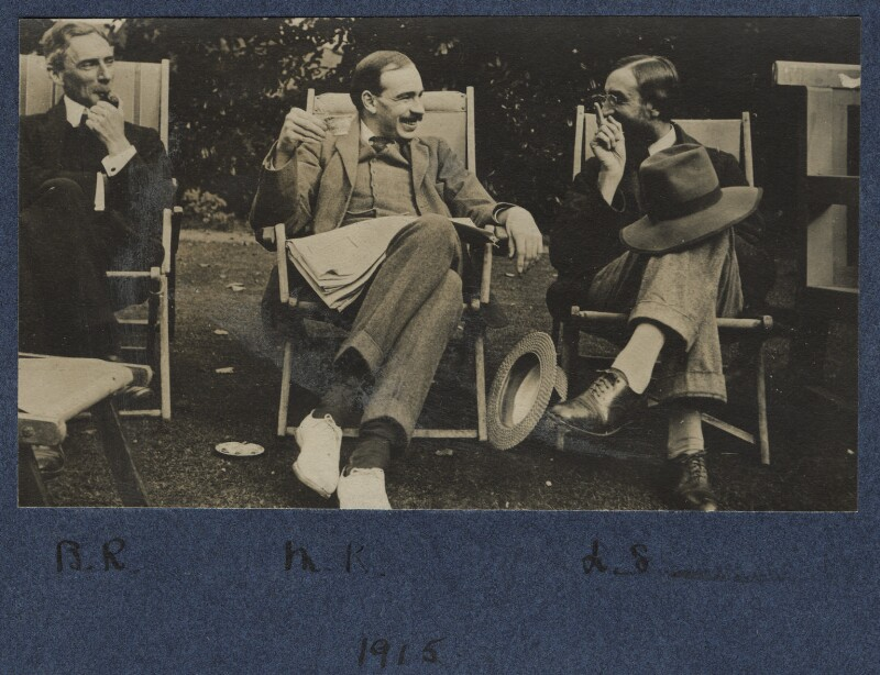 Bertrand Arthur William Russell, 3rd Earl Russell; John Maynard Keynes, Baron Keynes; Lytton Strachey, by Lady Ottoline Morrell, 1915 - NPG Ax140439 - © National Portrait Gallery, London