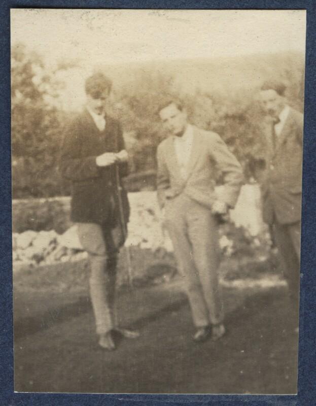 Aldous Huxley; Eric Dickinson; Edward Joseph Harrington O'Brien, by Lady Ottoline Morrell, 1920 - NPG Ax140450 - © National Portrait Gallery, London