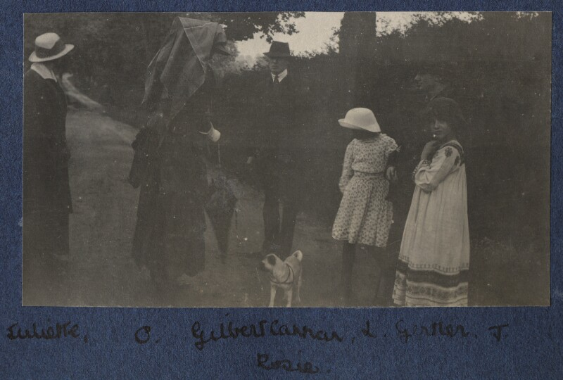 Lady Ottoline Morrell with friends, by Unknown photographer, 1916 - NPG Ax140479 - © National Portrait Gallery, London
