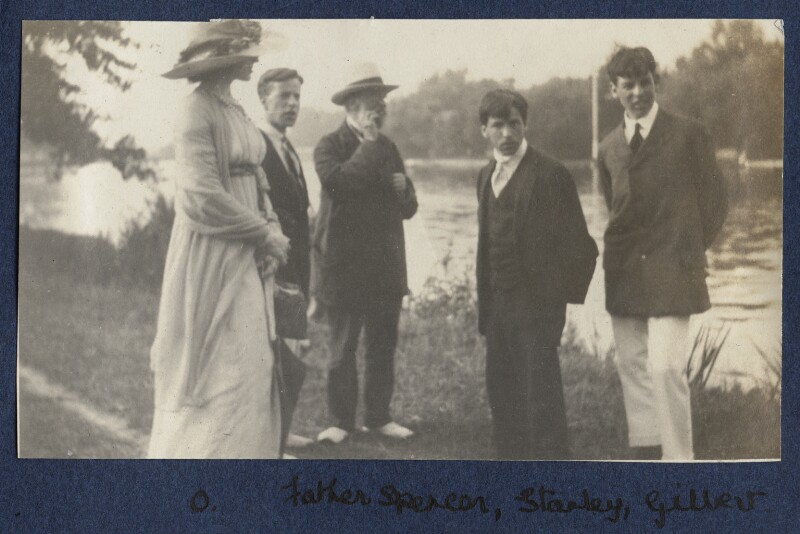 Lady Ottoline Morrell; Sydney Spencer; William Spencer; Sir Stanley Spencer; Gilbert Spencer, by Philip Edward Morrell, 1914 - NPG Ax140481 - © National Portrait Gallery, London