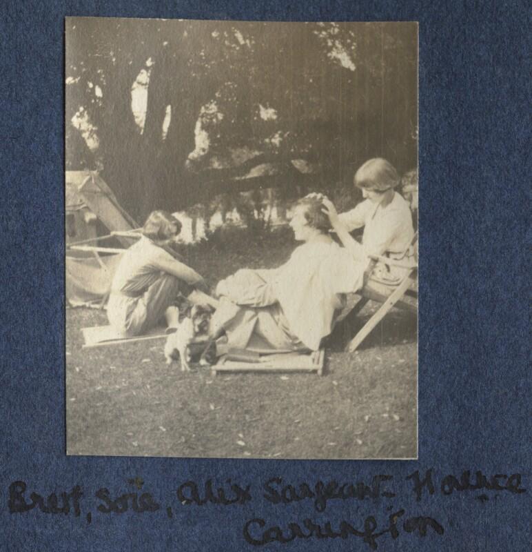 Dorothy Brett; Lady Ottoline Morrell's pug Soie; Alix Strachey; Dora Carrington, by Lady Ottoline Morrell, 1917 - NPG Ax140506 - © National Portrait Gallery, London