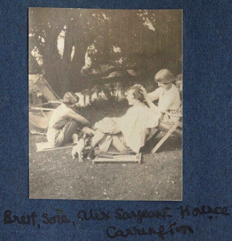 Dorothy Brett; Lady Ottoline Morrell's pug Soie; Alix Strachey (née Sargant-Florence); Dora Carrington, by Lady Ottoline Morrell, 1917 - NPG Ax140506 - © National Portrait Gallery, London