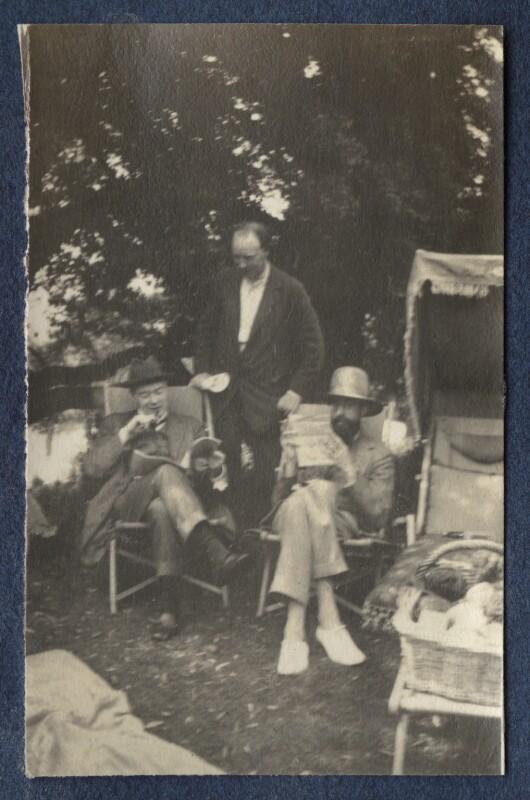 Sir John Tresidder Sheppard; Clive Bell; Lytton Strachey, by Lady Ottoline Morrell, 1917 - NPG Ax140550 - © National Portrait Gallery, London