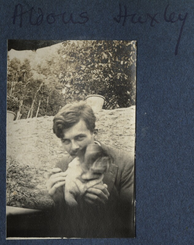 Aldous Huxley with Lady Ottoline Morrell's pug Soie, by Lady Ottoline Morrell, 1917 - NPG Ax140596 - © National Portrait Gallery, London