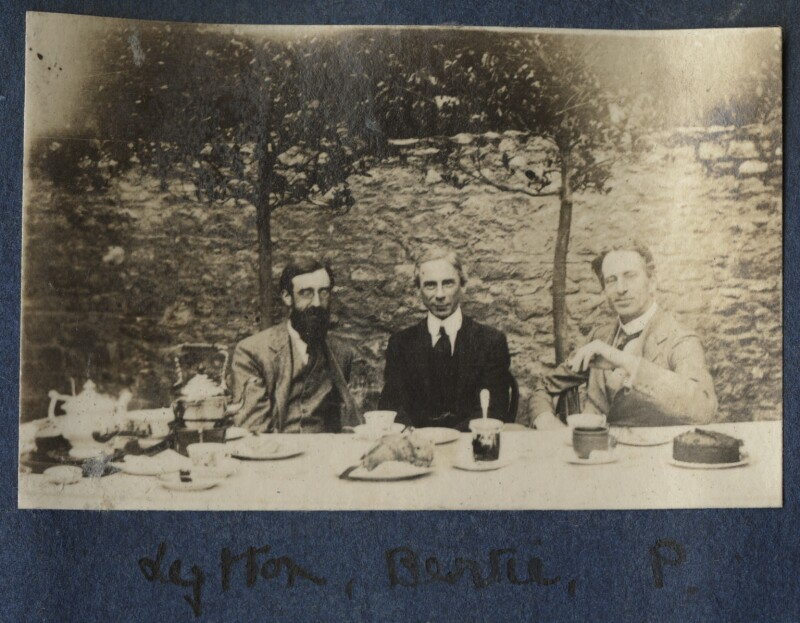 Lytton Strachey; Bertrand Arthur William Russell, 3rd Earl Russell; Philip Edward Morrell, by Lady Ottoline Morrell, 1917 - NPG Ax140630 - © National Portrait Gallery, London